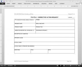 FSMS Corrective Action Request Template | FDS1170-2 Bizmanualz 1
