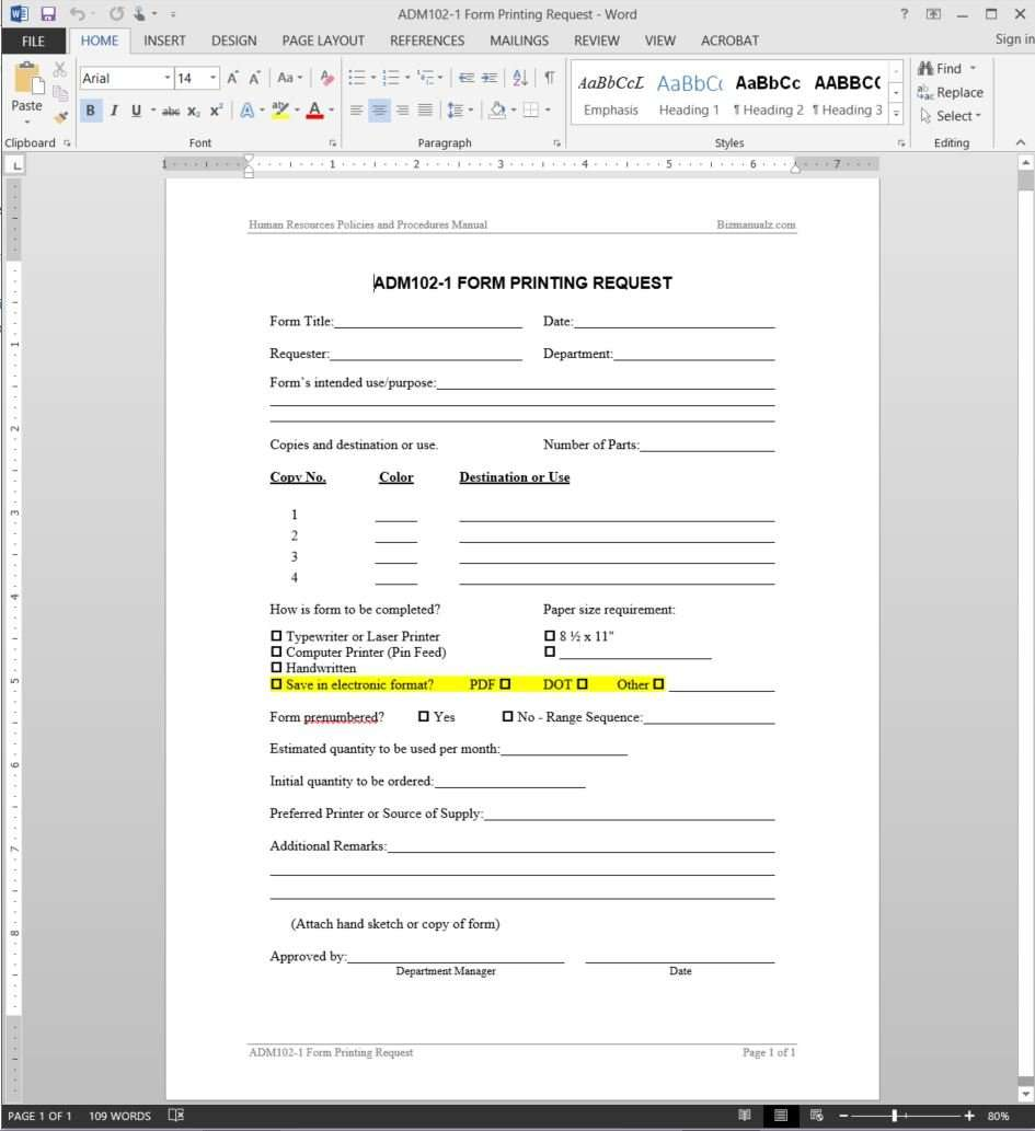 Printing Request Template - Printing order form template