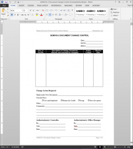 ADM103-2 HR Document Change Control Template