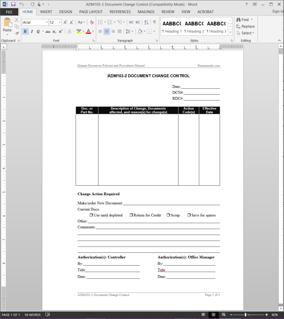 HR Document Change Control Template