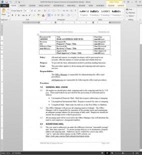 ADM104 Mail Express Services Procedure