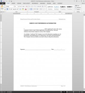 ADM107-2 Employee Exit References Authorization Template