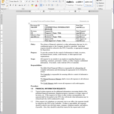 Policies and Procedures Manual Templates – Procedural Manual Template