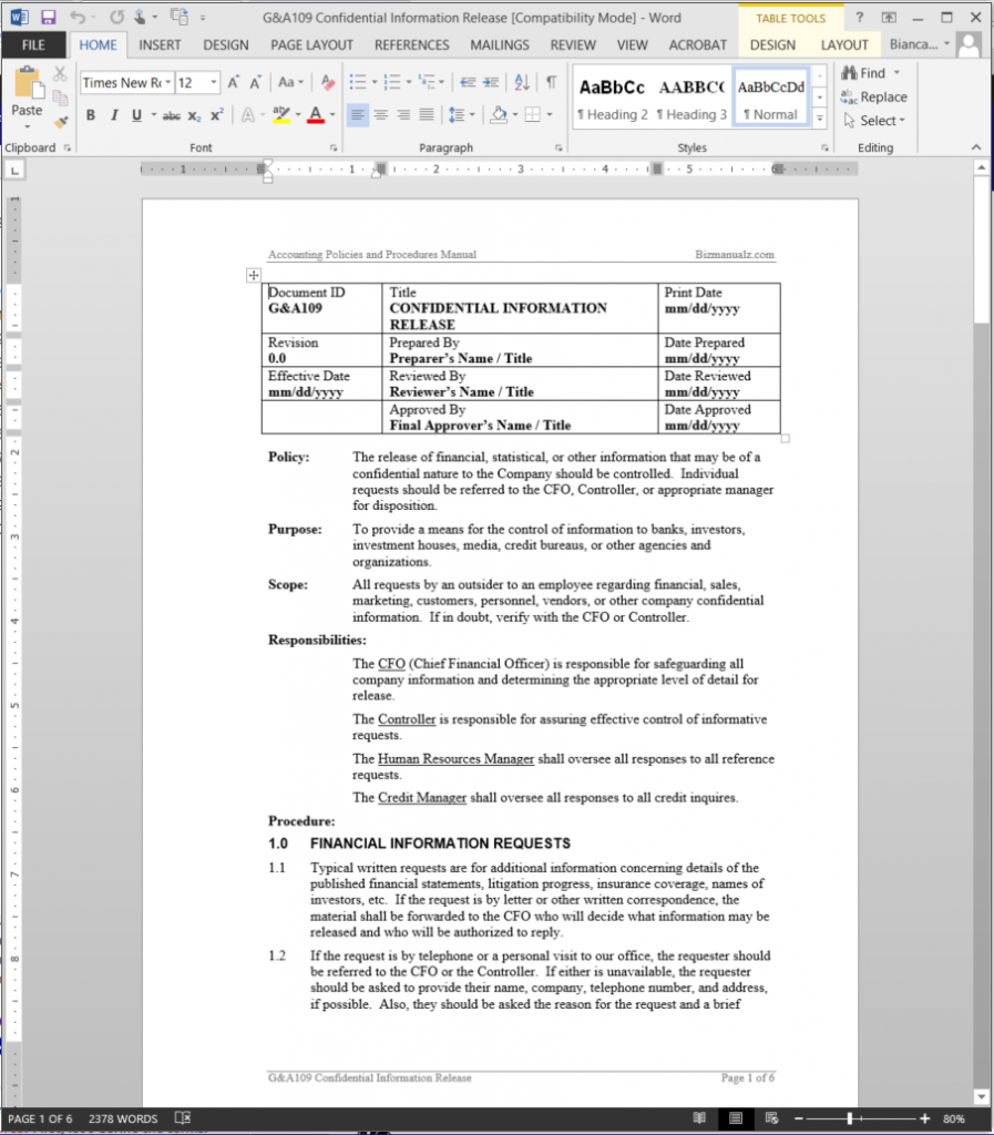 Policies Procedures Manual Template  Method Of Procedure Template