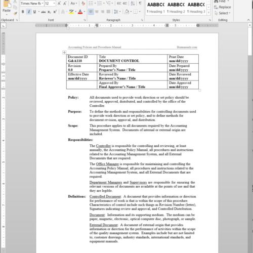 Document Control G&A110