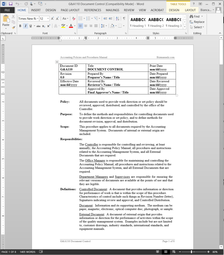 free quality control manual template - iso document control document control procedure template
