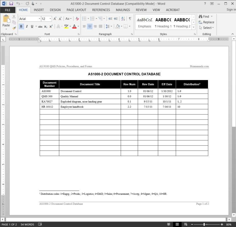 document control database template as9100 document control database template