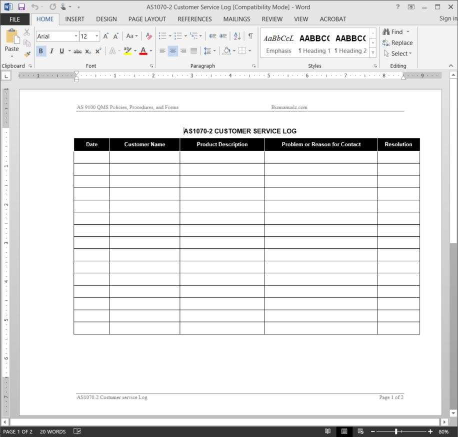 Customer Log Template