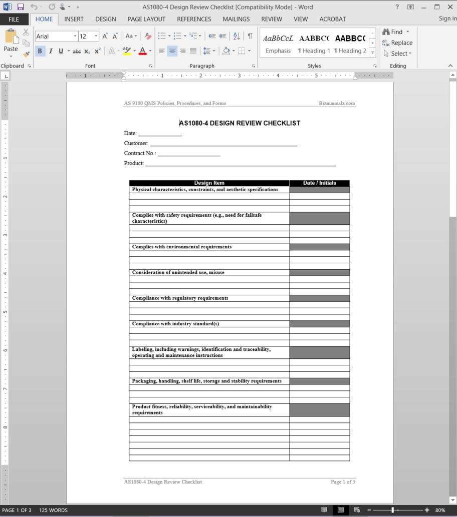 design review document template as9100 design review checklist template