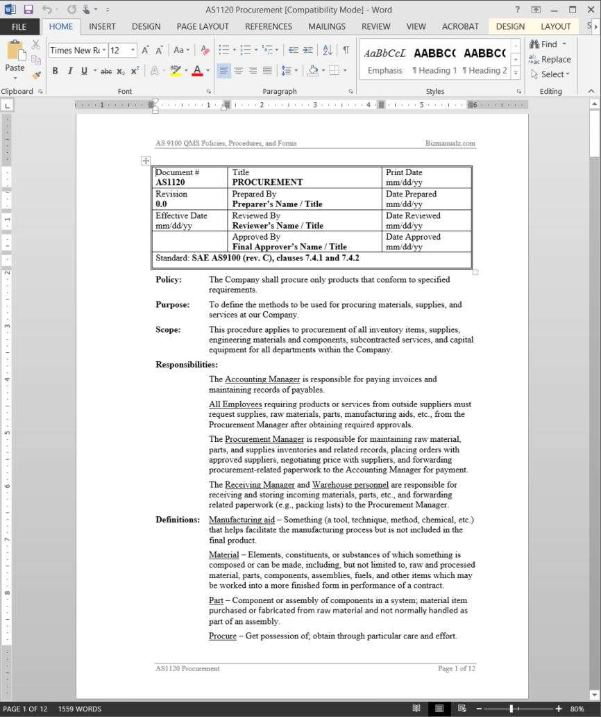 Writing Policies And Procedures Template Procurement Procedure