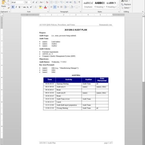 Audit Plan AS1200-2