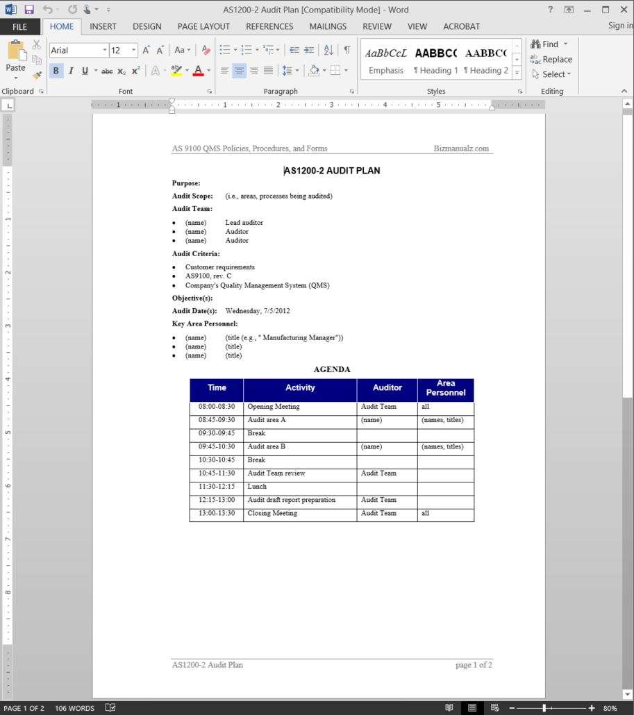 As9100 Audit Plan