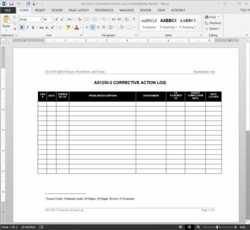 Corrective Action Log AS1250-2