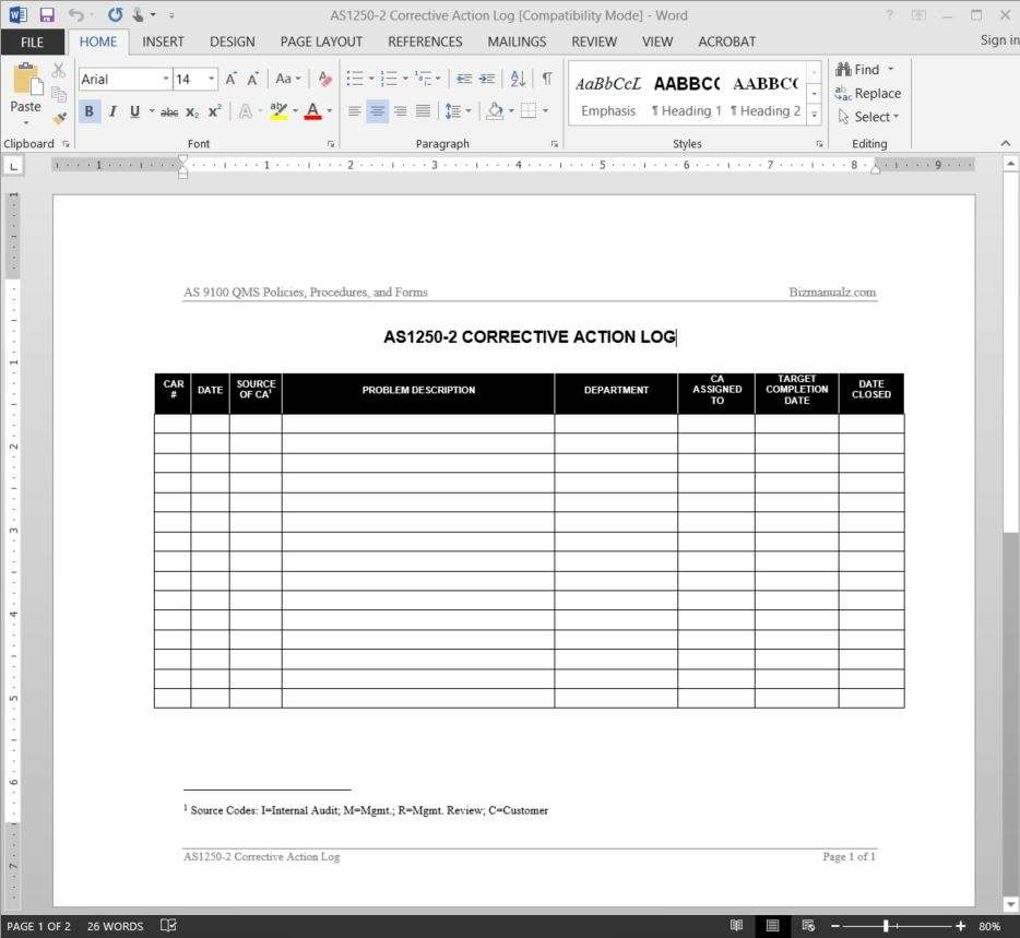Corrective Action Log – Action Log Template