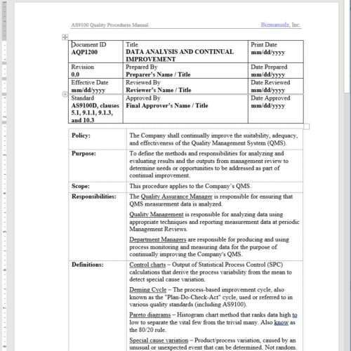 Aerospace Data Analysis Continual Improvement Procedure