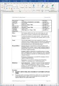 Aerospace External Property Control Procedure
