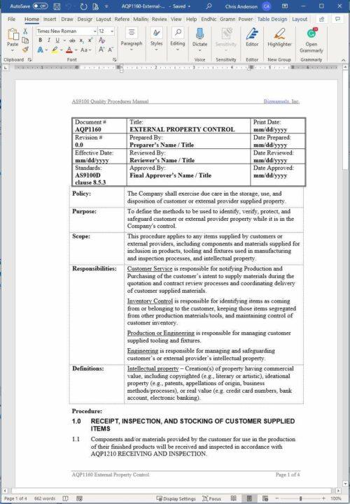 Aerospace External Property Control Procedure