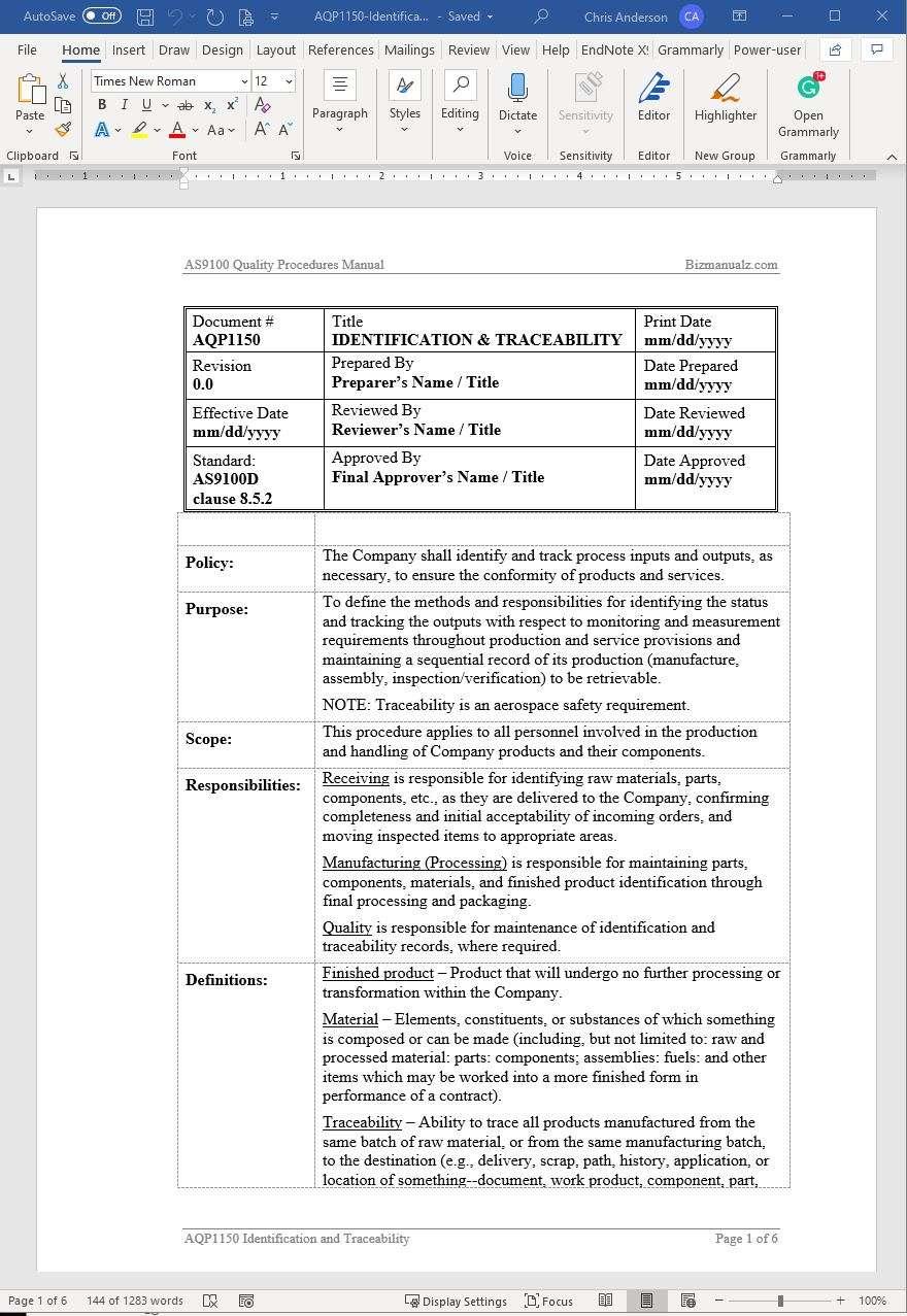 Aerospace Identification Traceability Procedure