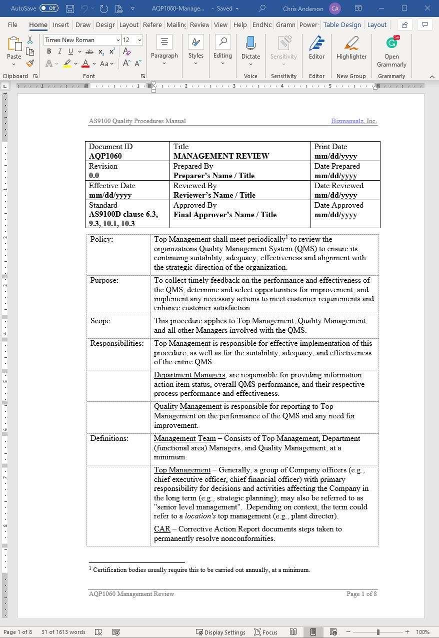 Aerospace ManagementReviewProcedure