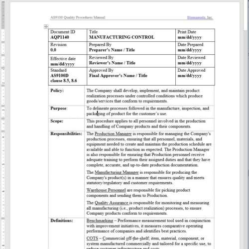 Aerospace Manufacturing Control Procedure