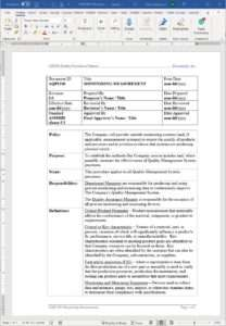 Aerospace Monitoring Measurement Procedure