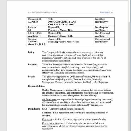Aerospace Nonconformity and Corrective Action Procedure