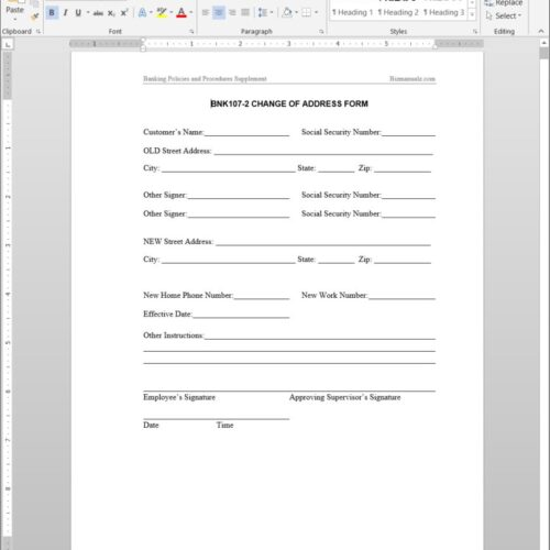 Change of Address Form BNK107-2