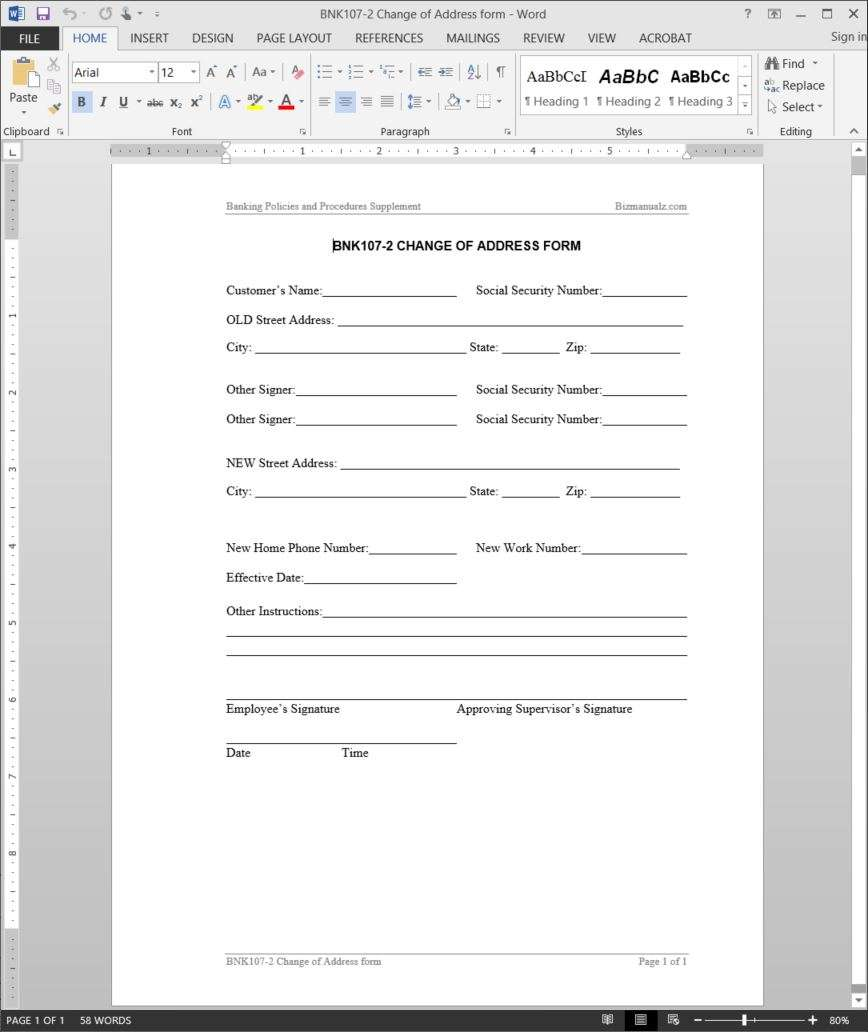 Elegant Change Of Address Form BNK107 2  Address Change Form Template