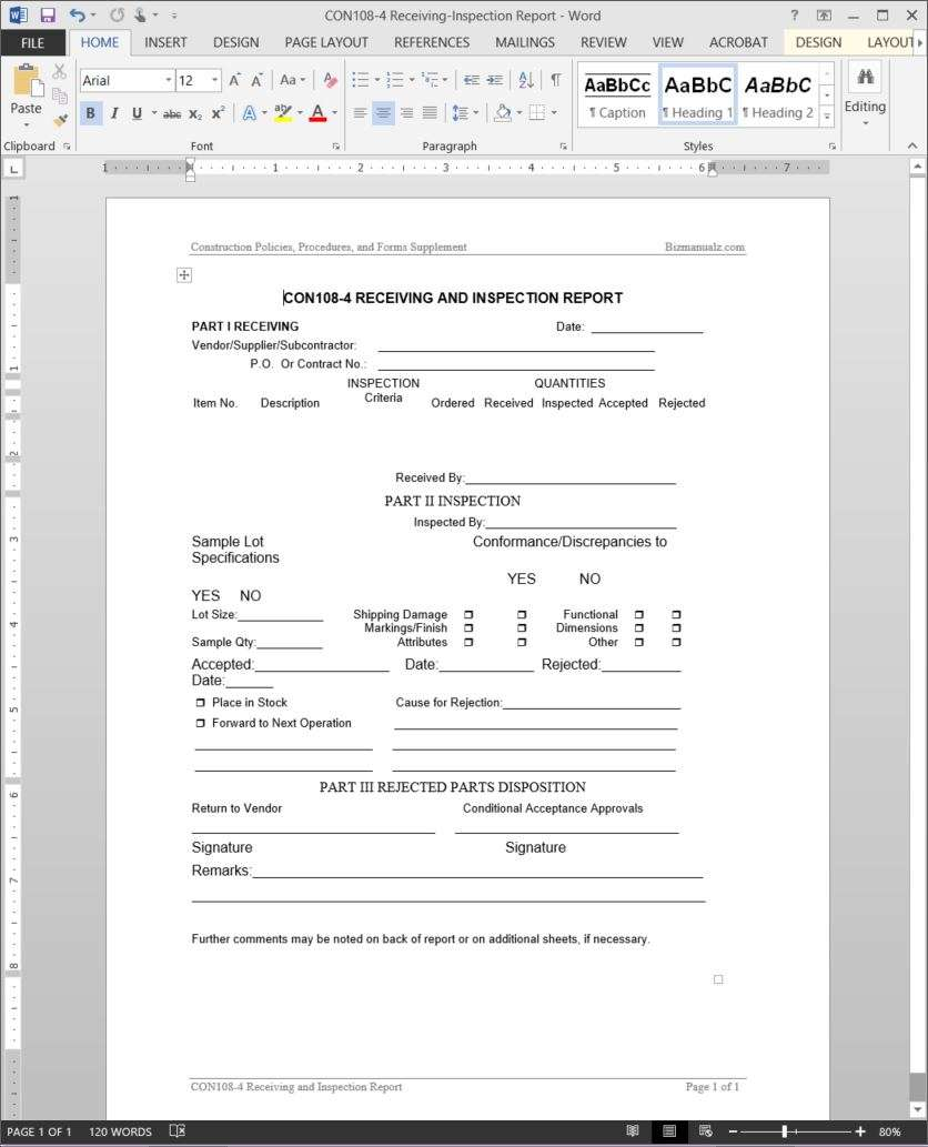 project receiving inspection report template con108 4 receiving inspection report template