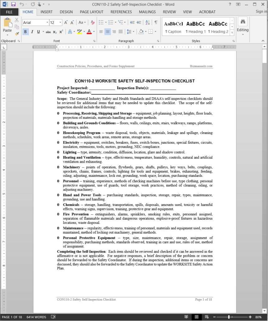 Safety self inspection checklist template safety self inspection checklist template wajeb Images