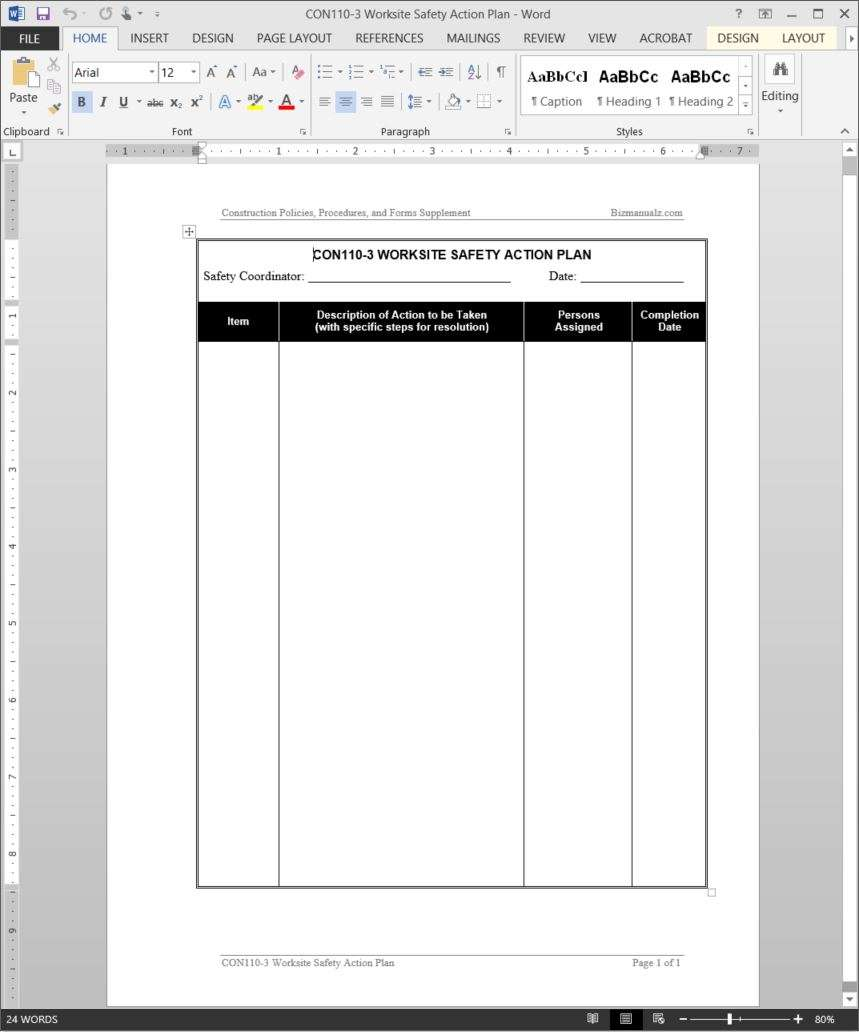 human resources action plan template - worksite safety action plan template cmp101 3