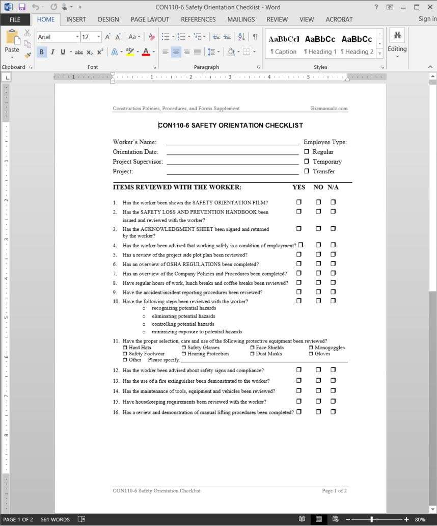 Safety Orientation Checklist Template – Sample Project Checklist Template