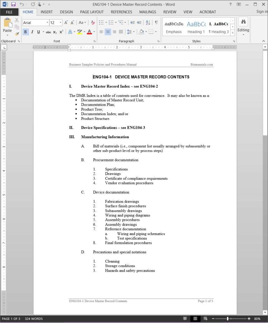 Device Master Record Contents Template – Reference Manual Template