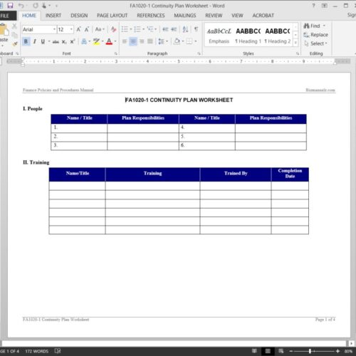 Continuity Plan Worksheet FA1020-1