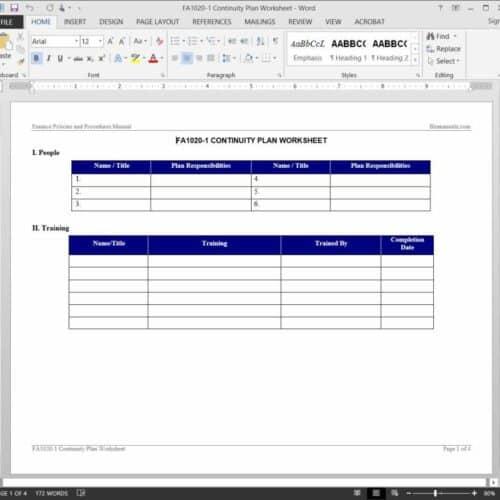 Continuity Plan Worksheet FA1020-1