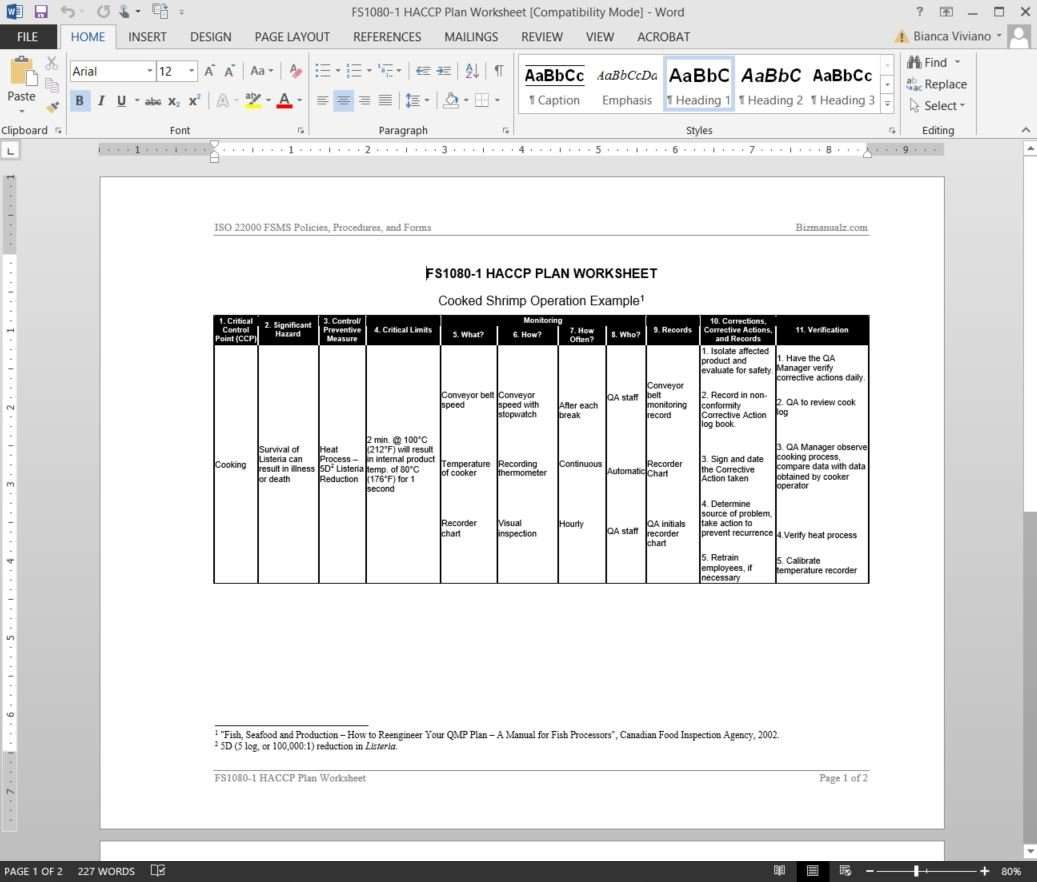 FSMS HACCP Plan Worksheet Template