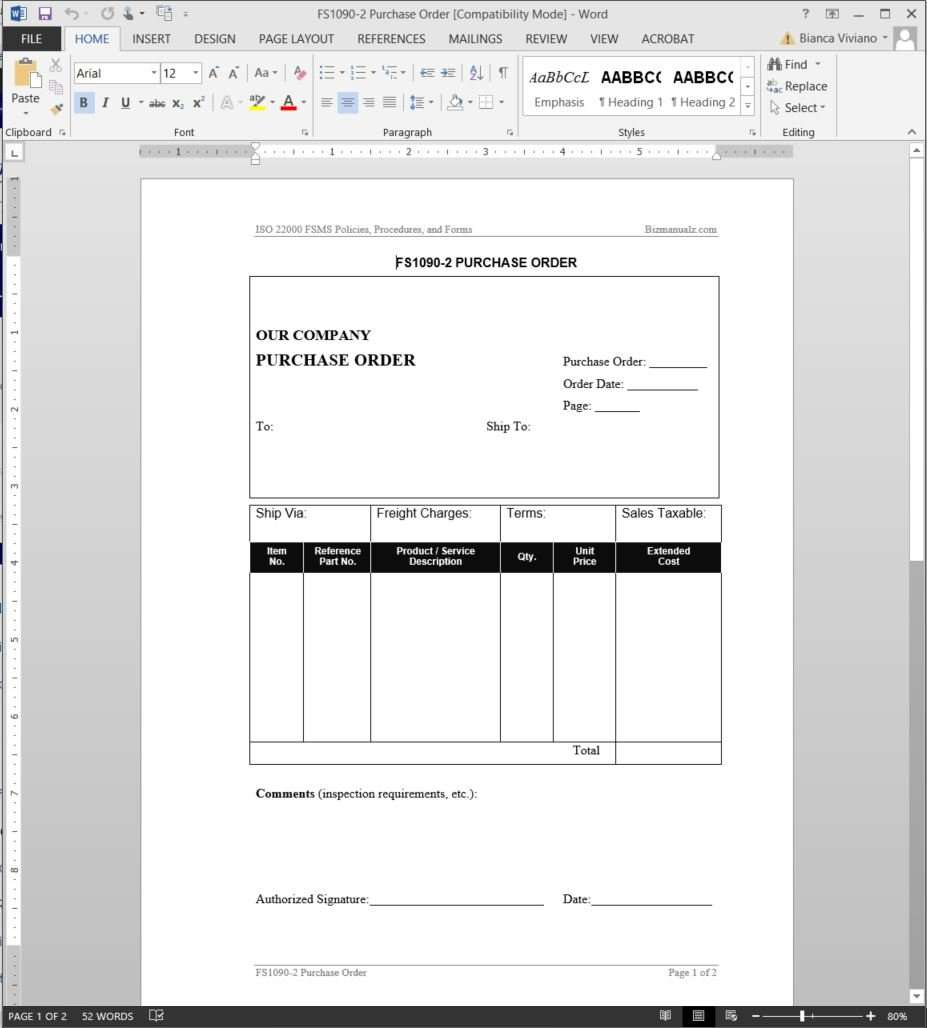 FSMS Purchase Order Template