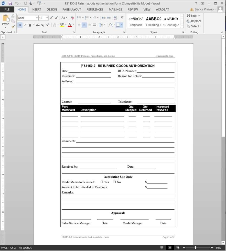 Fsms Returned Good Authorization Template