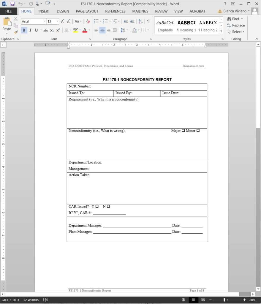 Fsms Nonconformity Report Template