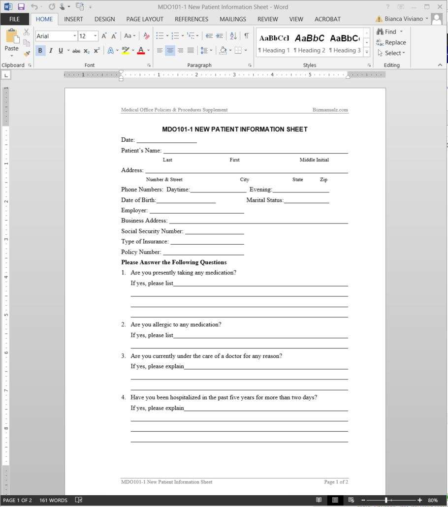 new patient information worksheet template