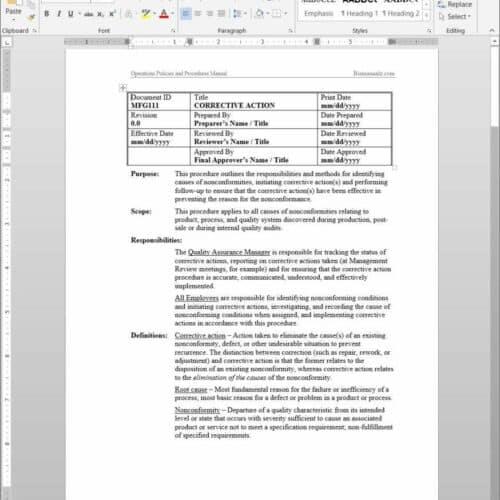 sales sop template - production procedures archives bizmanualz