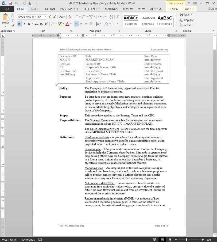 Marketing plan procedure add to wishlist malvernweather Image collections