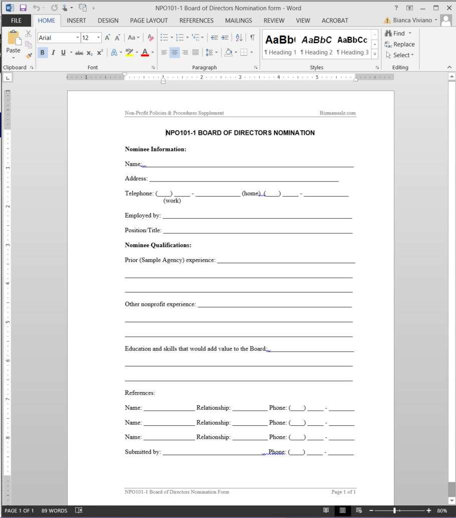 board member application template non profit policies and procedures template