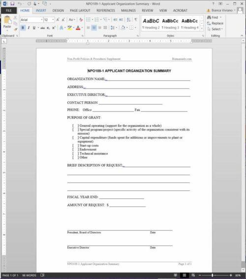 Applicant Organization Summary