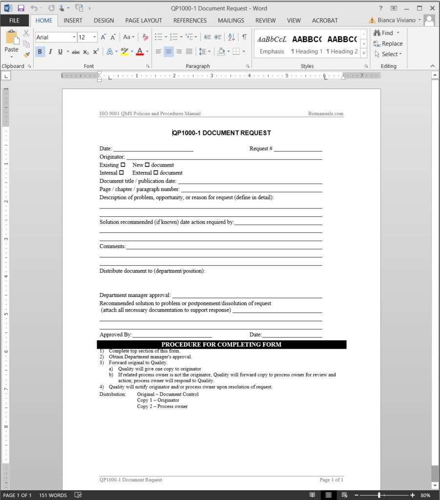 Document request iso template for Iso 9001 procedures templates