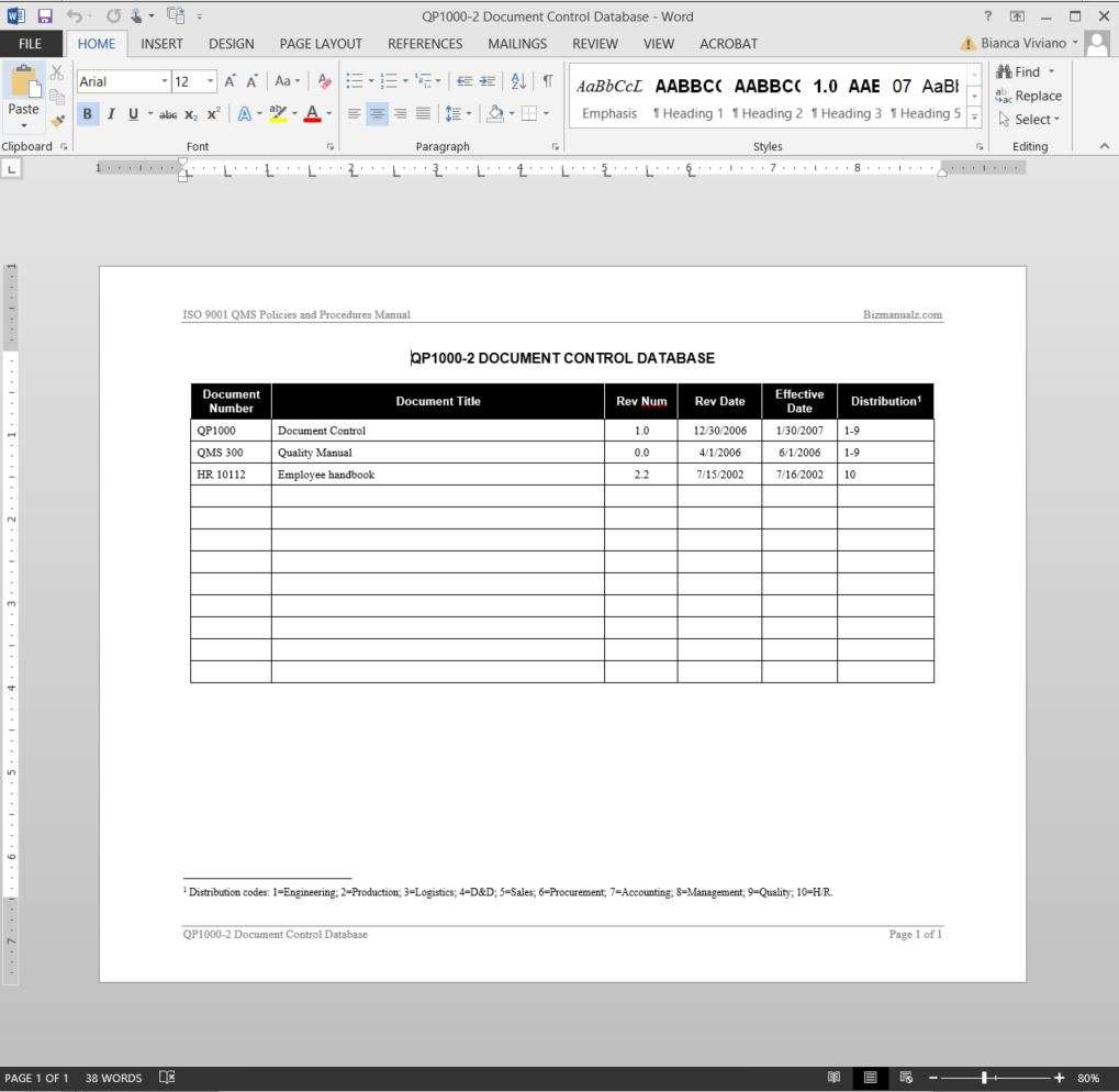 Document control log iso template for Free quality control manual template