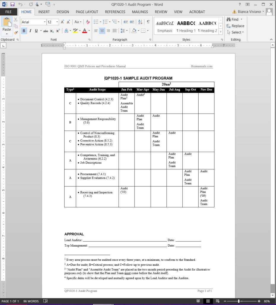 Audit program iso template for Annual internal audit plan template