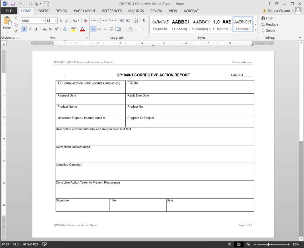 Corrective Action Report Template Form Suyhi