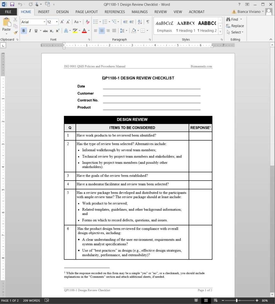 Design review checklist iso template for Free quality control manual template