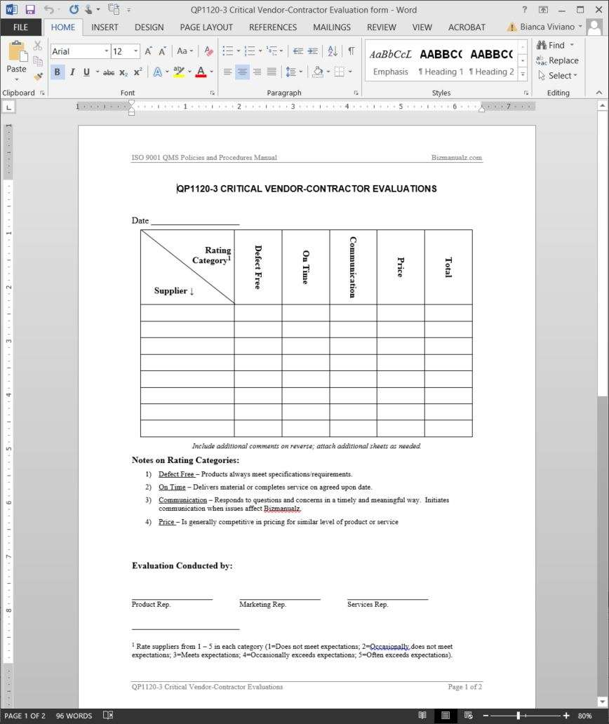 supplier audit plan template - critical vendor contractor evaluation iso template